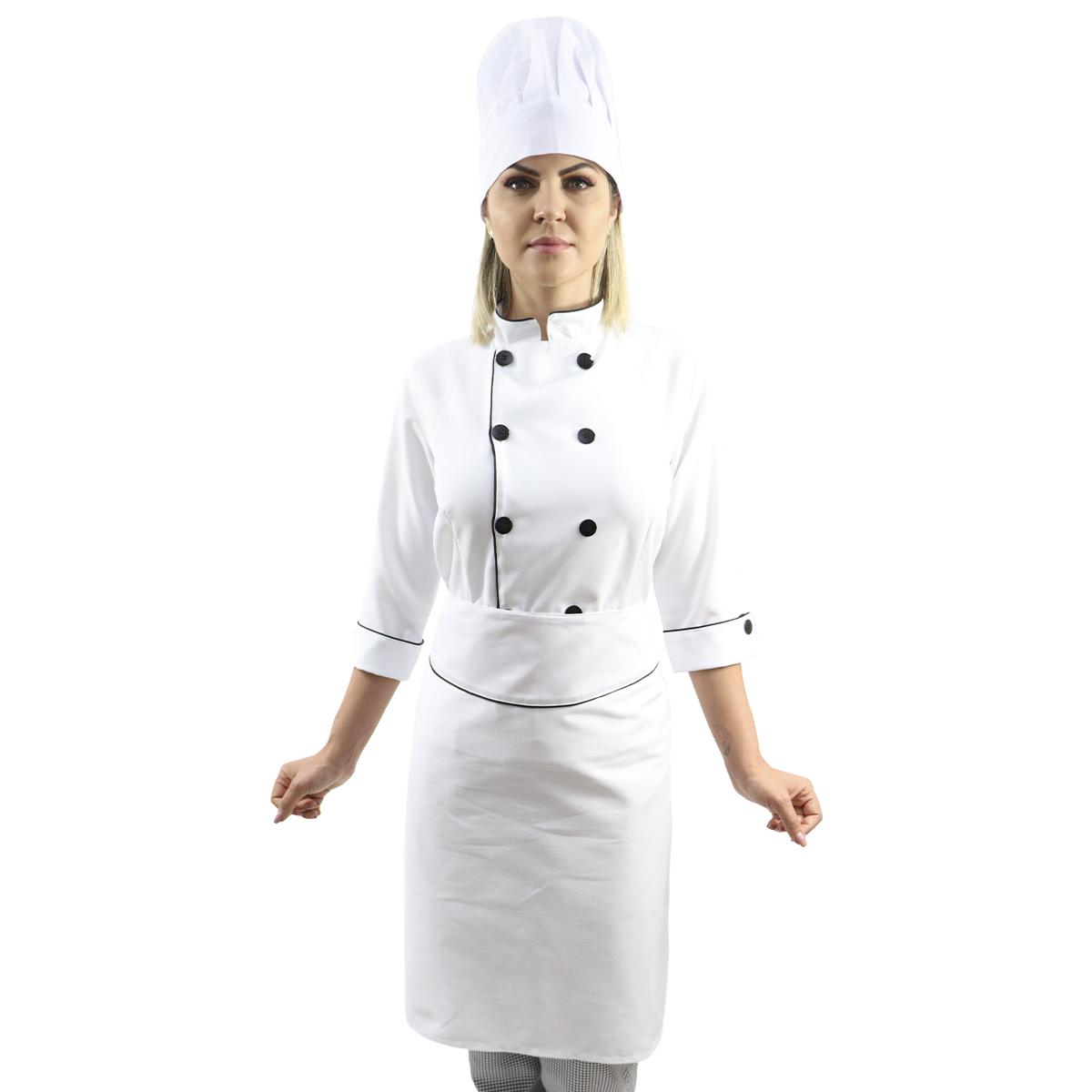 Kit Dolmã manga 3/4 + Chapéu Cozinheiro + Avental de cintura chef cozinha
