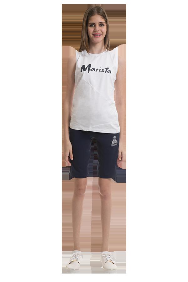 Camiseta regata em Confort branco. Colégio Marista. Ref. F28