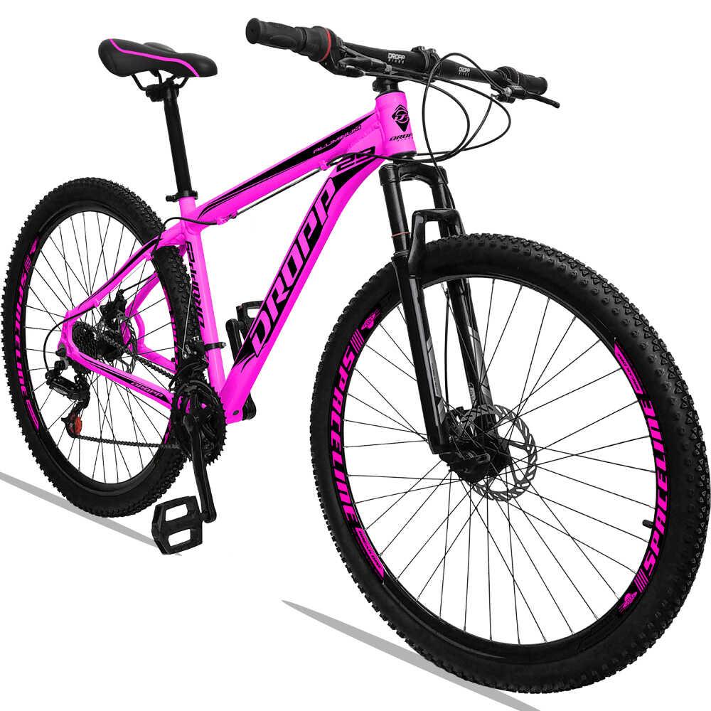 Bicicleta Aro 29 Dropp Alumínio 21V Freio a Disco Rosa
