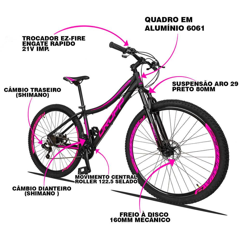 Bicicleta Aro 29 Dropp Flowers Feminino 21v Freios a Disco Quadro 15,5