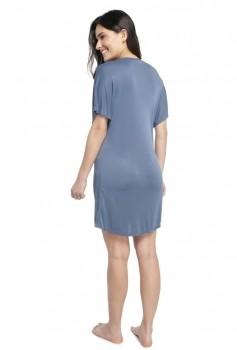 Camisão Feminino Curto Azul Denim com Renda