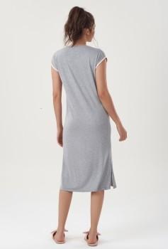 Camisola Dress Midi Manga Curta