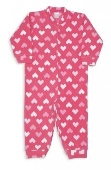 Macacão Infantil Corações Pixelados de Soft - 1 a 3 Anos