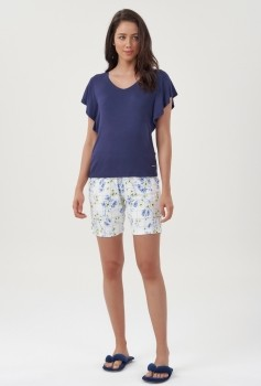 Pijama Bermuda Feminino Floral Azul