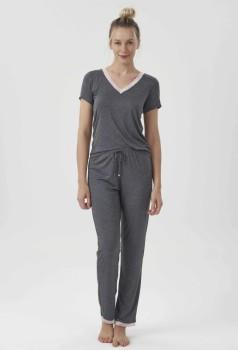 Pijama Calça e Manga Curta Feminino Mescla