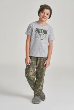 Pijama Calça e Manga Curta Infantil Camuflado