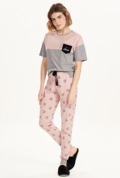Pijama Calça e Manga Curta Love Cor com Amor