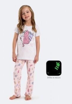 Pijama Calça e Manga Curta Menina em Algodão e Modal