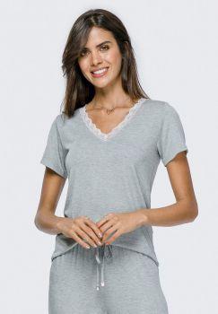 Pijama Calça e Manga Curta Mescla