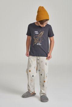 Pijama Cosmos Calça Manga Curta Infantil Menino
