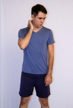 Pijama Curto Masculino Microfibra Azul