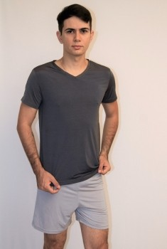 Pijama Curto Masculino Microfibra Cinza