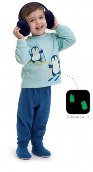 Pijama de Soft Infantil Pinguim
