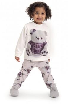 Pijama de Soft Ursas Xadrez Bebê Menina