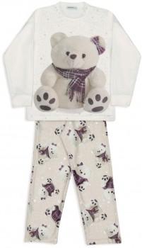 Pijama de soft ursas xadrez infantil