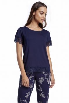 Pijama Feminino Calça Capri Paisley com Renda