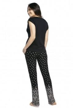 Pijama Feminino Calça e Manga Curta Paisley