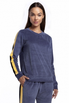 Pijama Feminino Longo de Plush Azul Jeans com Bolso e Punho
