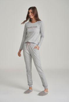Pijama Feminino Manga Longa Listrado