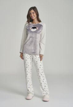 Pijama Feminino Manga Longa Moletinho Pinguim