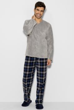 Pijama Longo Manga Longa Aberto Soft Masculino Gales Any Any