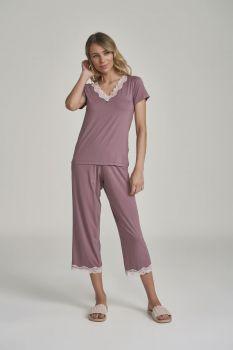 Pijama Manga Curta com calça Midi