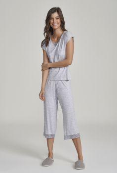 Pijama Manga Curta Com Calça Midi Feminino