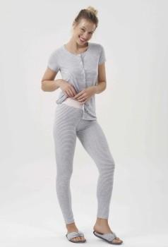 Pijama Manga Curta Com Legging e Abertura Listrado Feminino