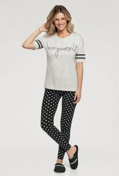 Pijama Manga Curta com Legging Poás