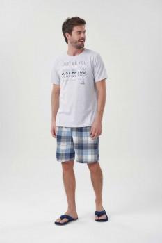 Pijama Manga Curta Masculino Mescla