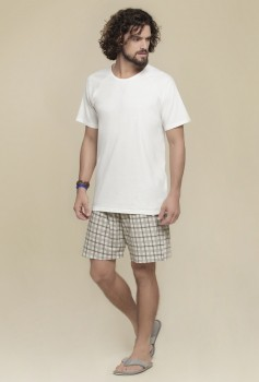 Pijama Manga Curta Masculino Off White