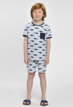 Pijama Manga Curta Tubarões
