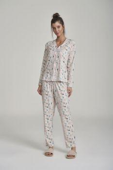Pijama Manga Longa Com Abertura e Calça Midi