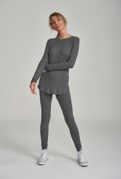 Pijama Manga Longa com Legging Cinza Canelado