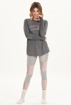Pijama Manga Longa Com Legging Xadrez