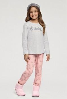Pijama Manga Longa Infantil Gatinho