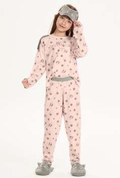 Pijama Manga Longa Infantil Menina Cor com Amor