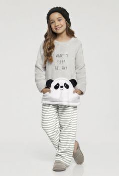 Pijama Manga Longa Infantil Panda Fleece