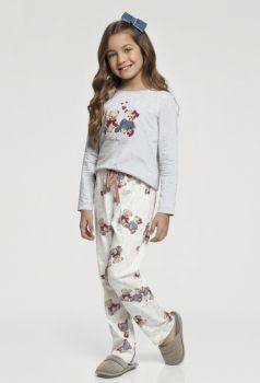 Pijama Manga Longa Infantil Ursinho.