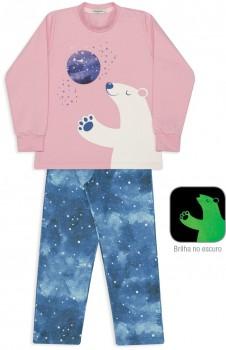 Pijama Manga Longa Moletinho Urso e Céu Noturno Menina