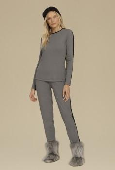 Pijama Manga Longa Preto e Mescla