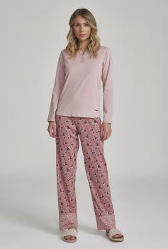 Pijama Manga Longa Rosa Antigo