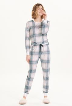 Pijama Manga Longa Xadrez Feminino