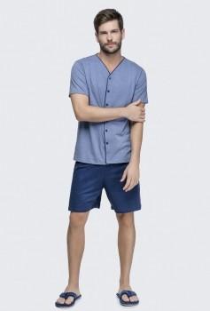 Pijama Masculino Manga Curta com Abertura