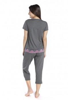 Pijama Pescador Feminino com barra rendada