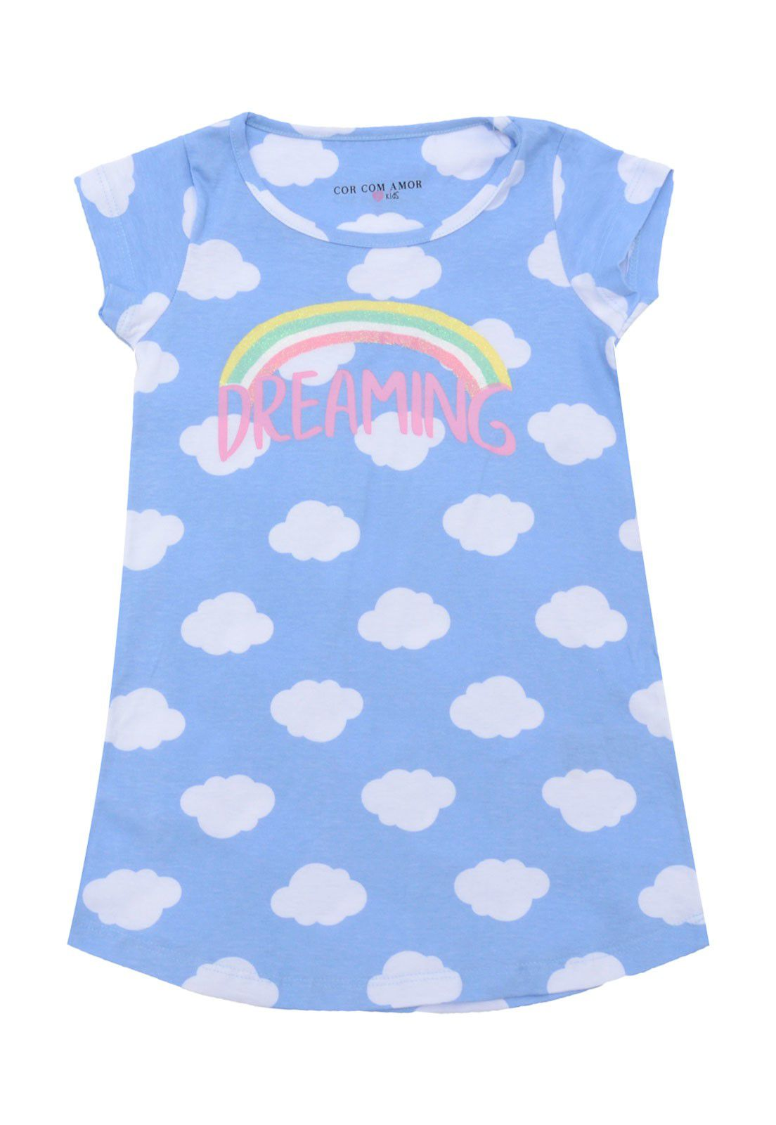 Camisola Manga Curta Infantil Nuvens