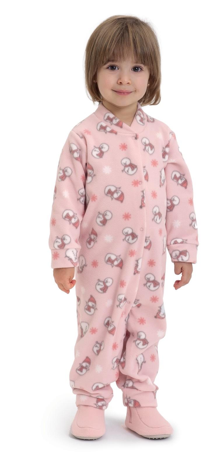 Macacão de soft infantil menina bonecos de neve