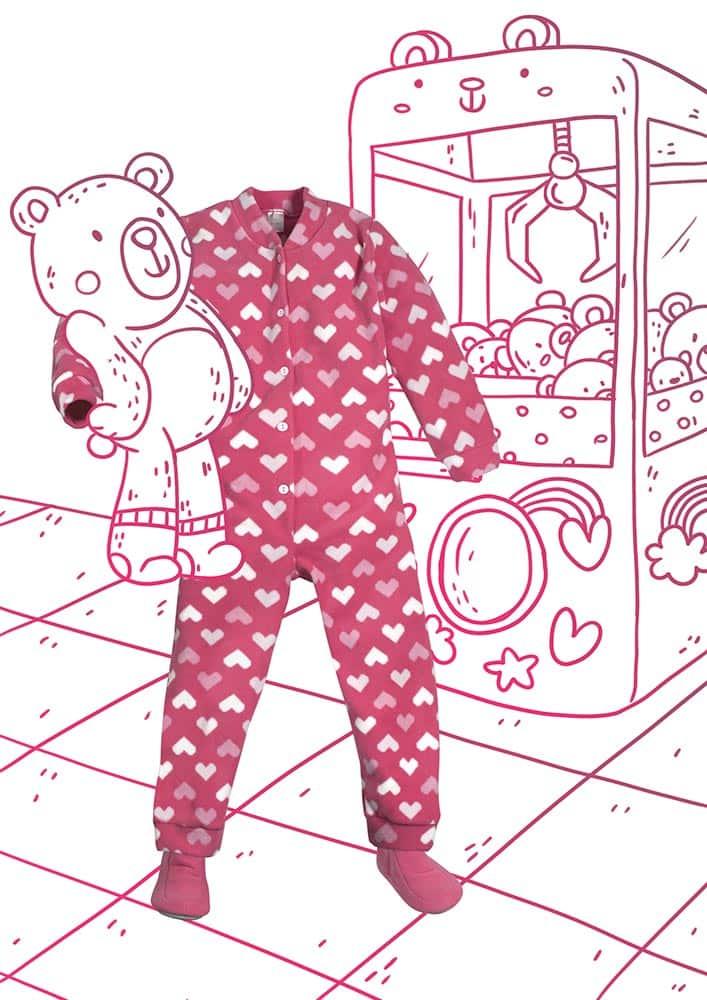 Macacão Infantil Corações Pixelados de Soft