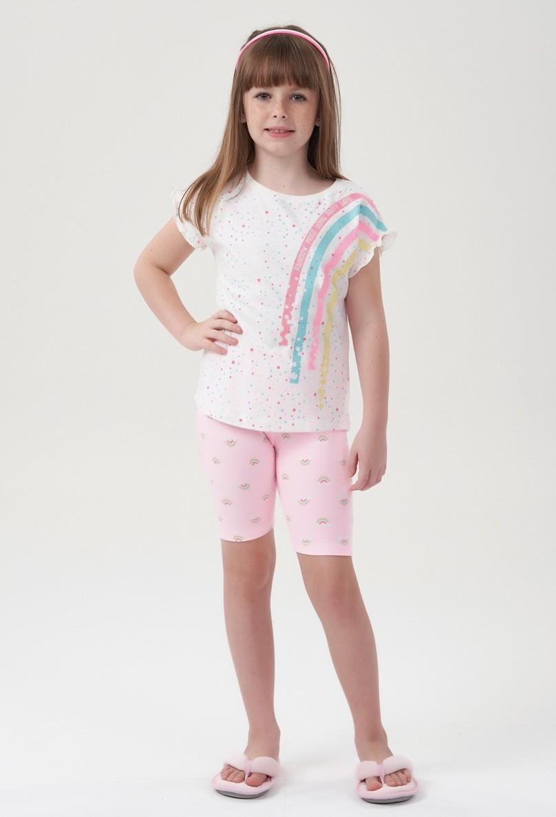 Pijama Bermuda Menina Rainbow