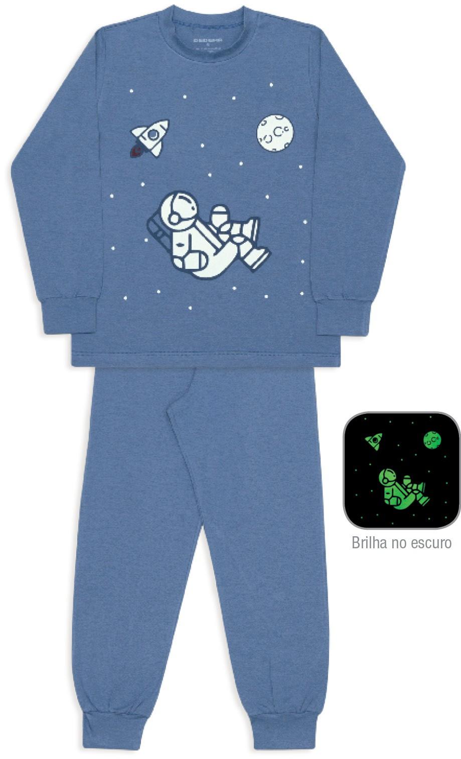 Pijama de algodão e modal espaço sideral Infantil
